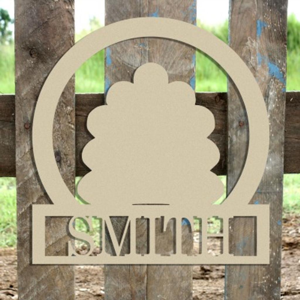 Turkey Frame Family Welcome Sign, Unfinished Framed Monogram