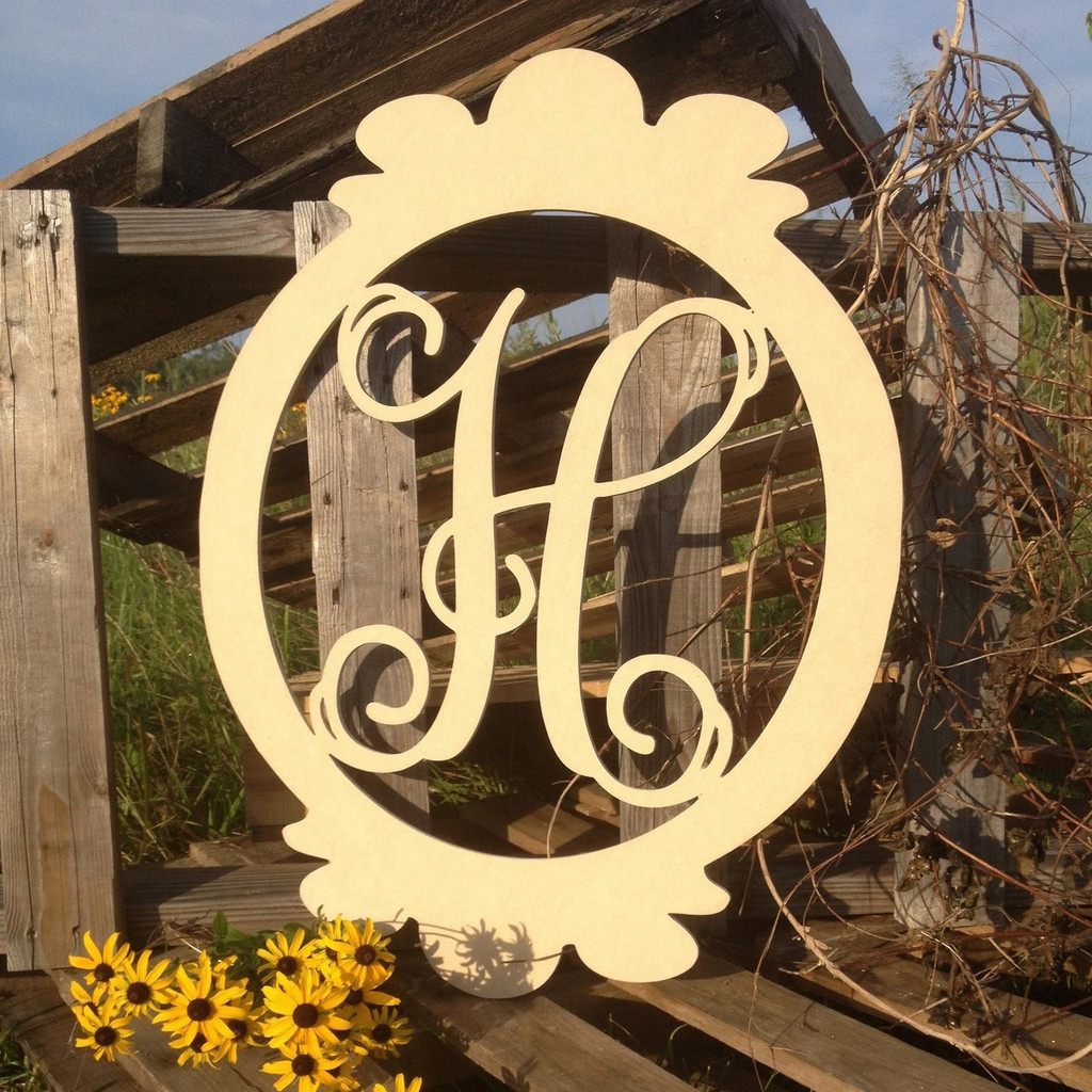 Charlie Oval Frame Monogram Letter Wooden - Unfinished  DIY Craft