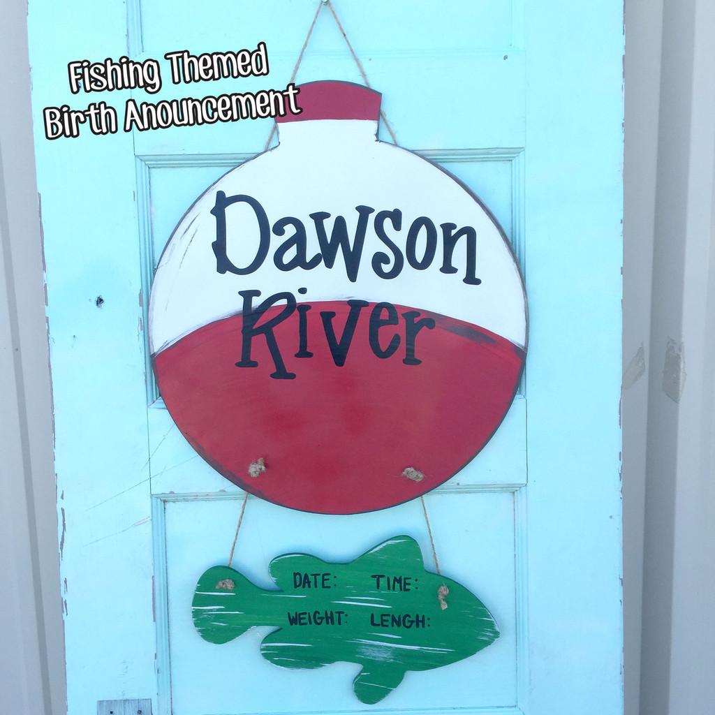 Fishing Themed Birth Announcement Cutout Blog