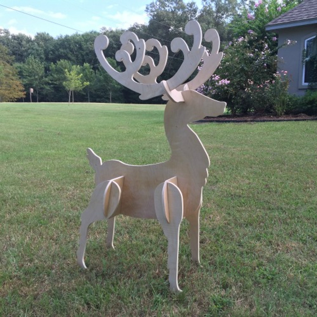 Reindeer Yard Art (Standing Reindeer Buck) 1/2'' Birch Christmas Decor