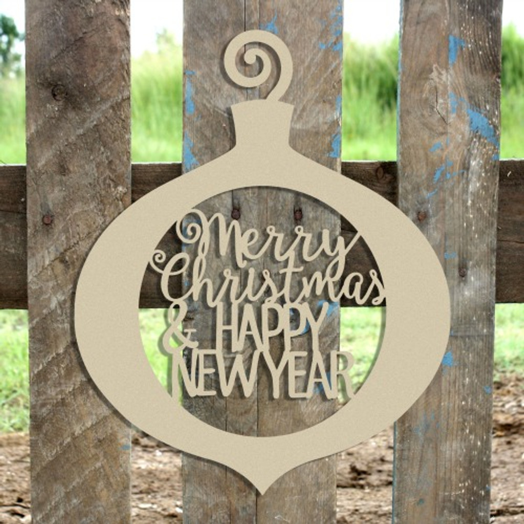 Merry Christmas & Happy New Year Curly Ornament Wooden (MDF) Cutout - Unfinished  DIY Craft