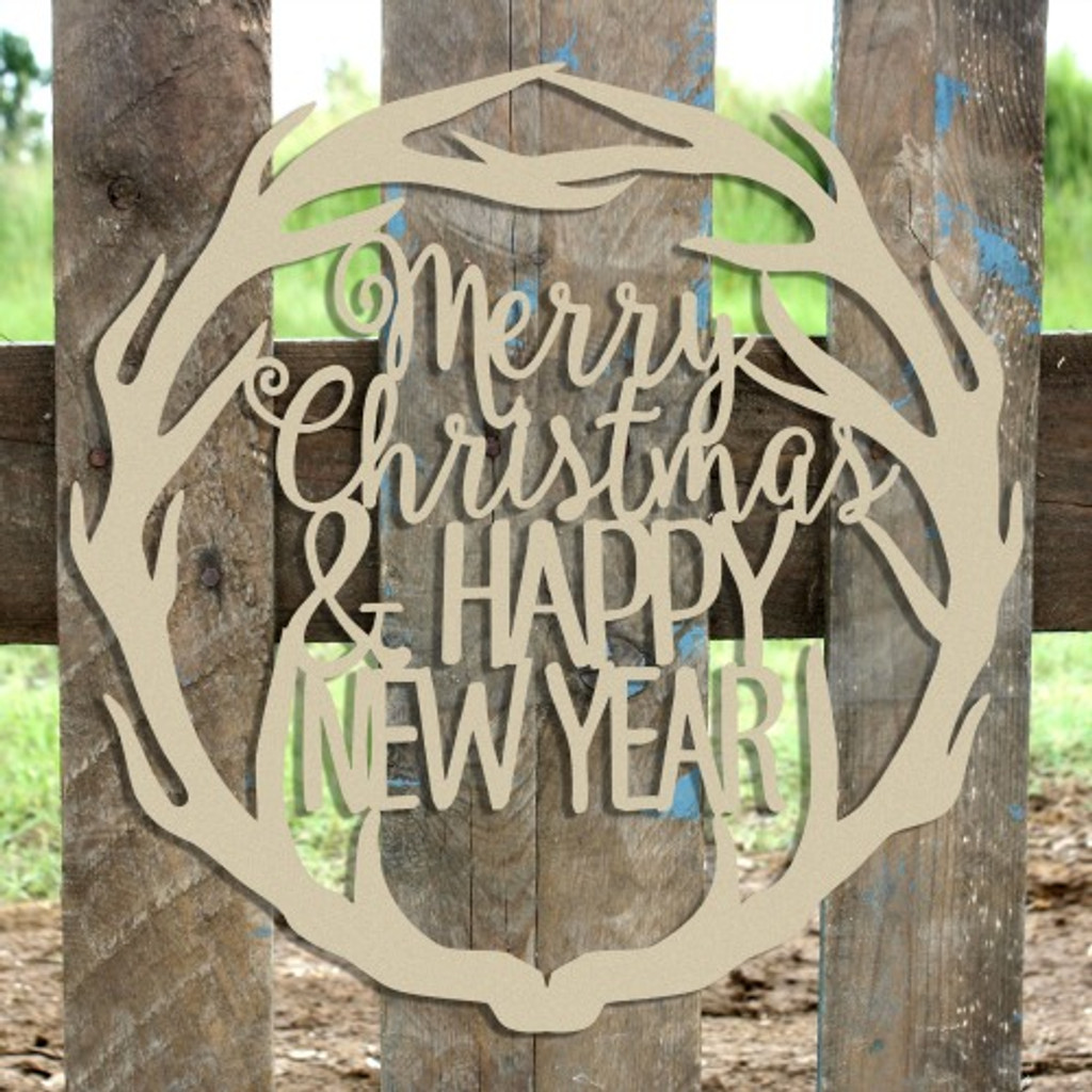 Merry Christmas & Happy New Year Antler Wreath Wooden (MDF) Cutout - Unfinished  DIY Craft