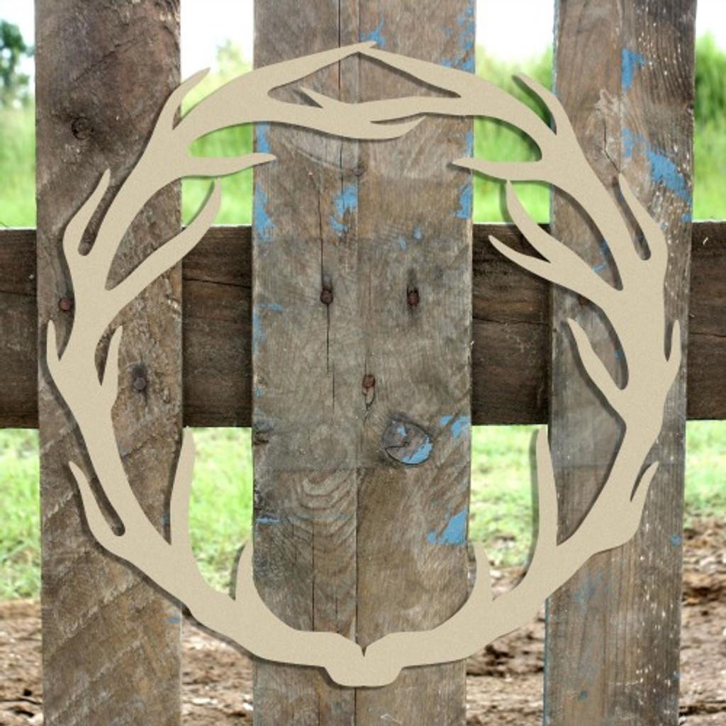 Antler Wreath Wooden (MDF) Cutout - Unfinished  DIY Craft