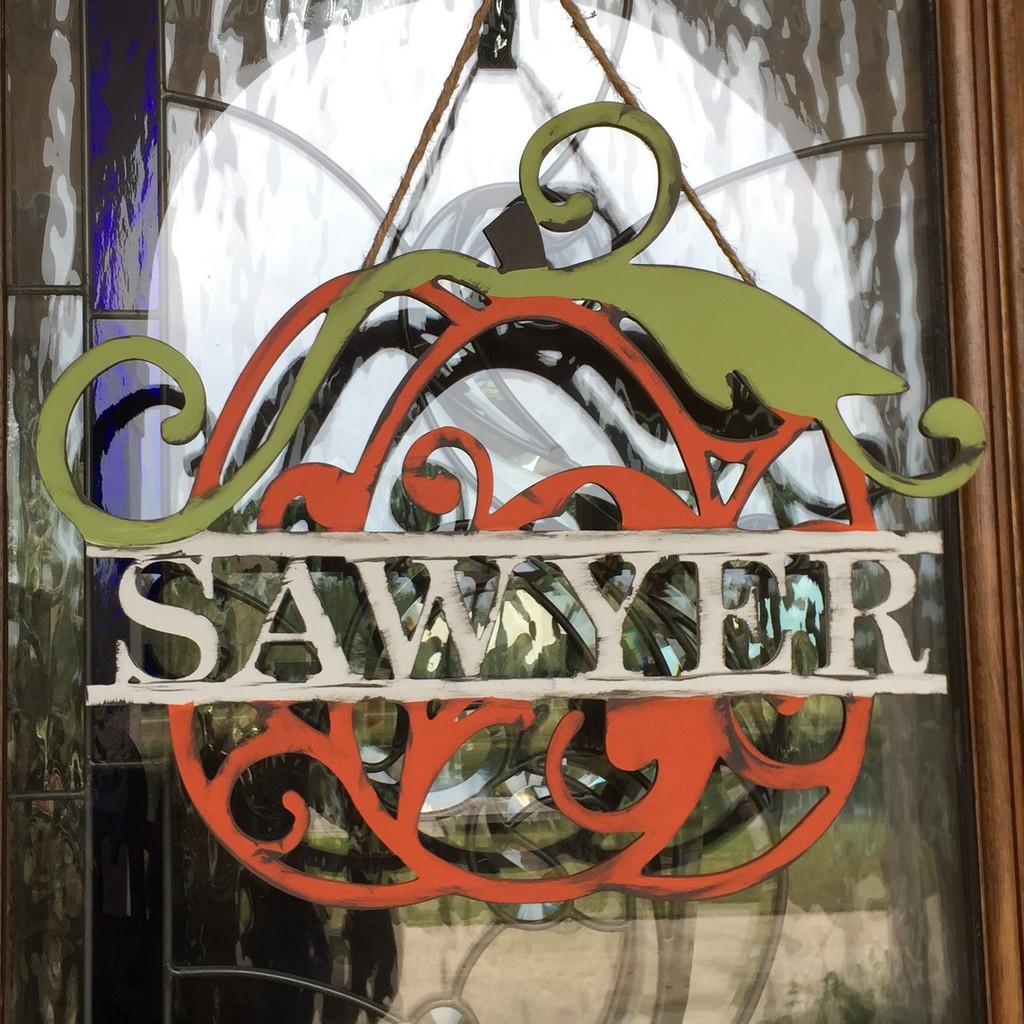 Swirly Pumpkin Family Name Frame, Unfinished Framed Monogram