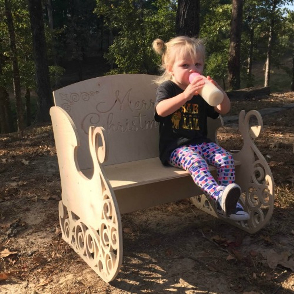 Children's Bench (Sleigh), Unfinished Paintable White Pine Wood