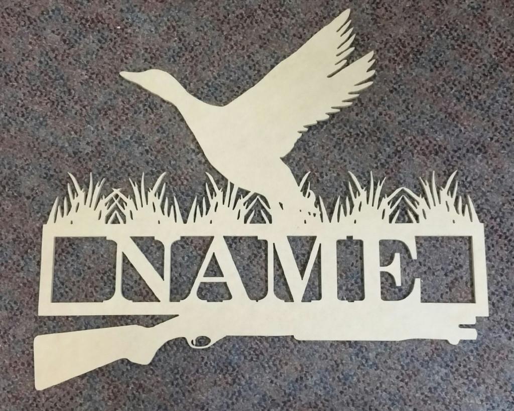 Duck Hunt Frame Family Name Unfinished Framed Monogram