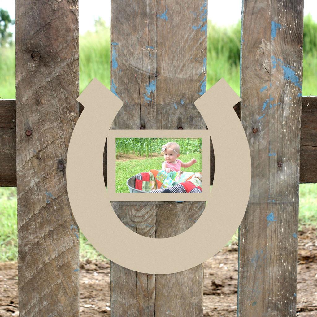 Horseshoe, Wooden Photo Frames, Unfinished Paintable Cutout