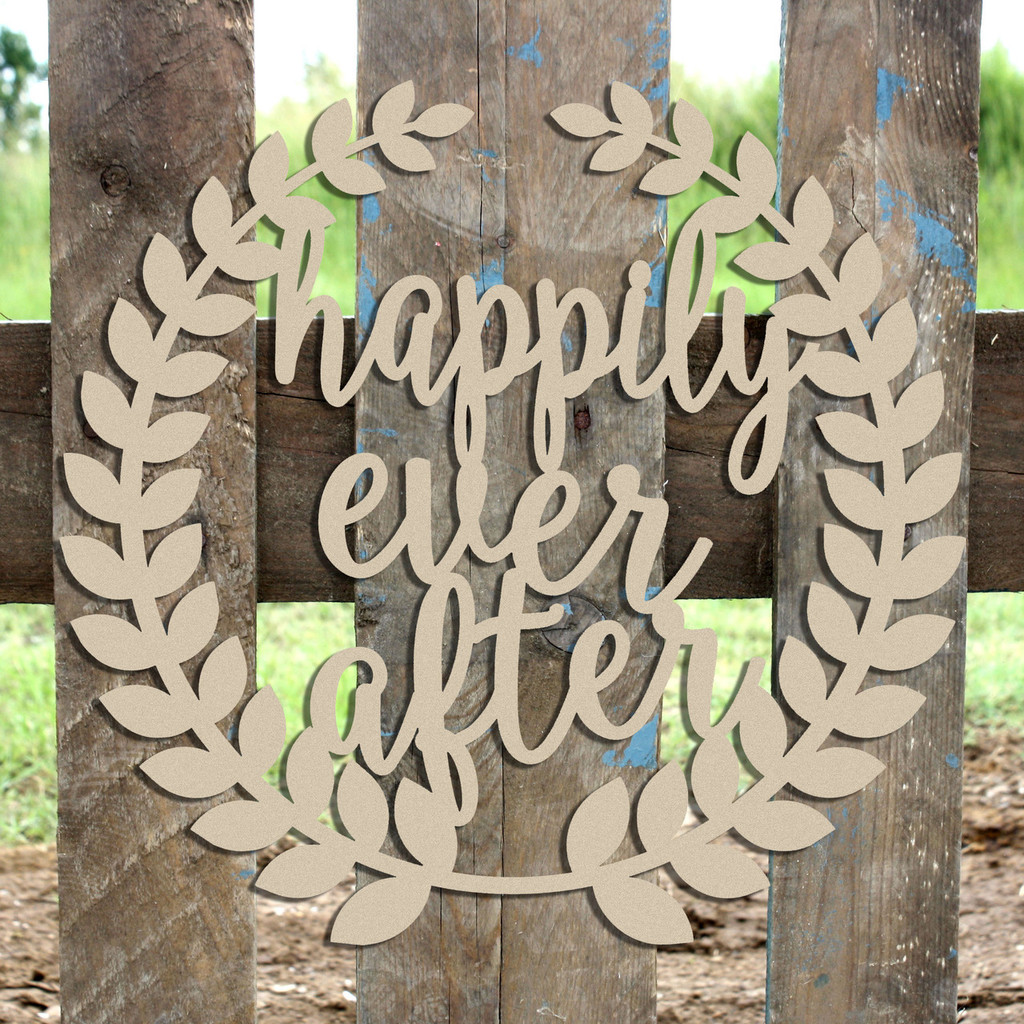 Roman Wreath -  Happily Ever After  Unfinished Cutout MDF