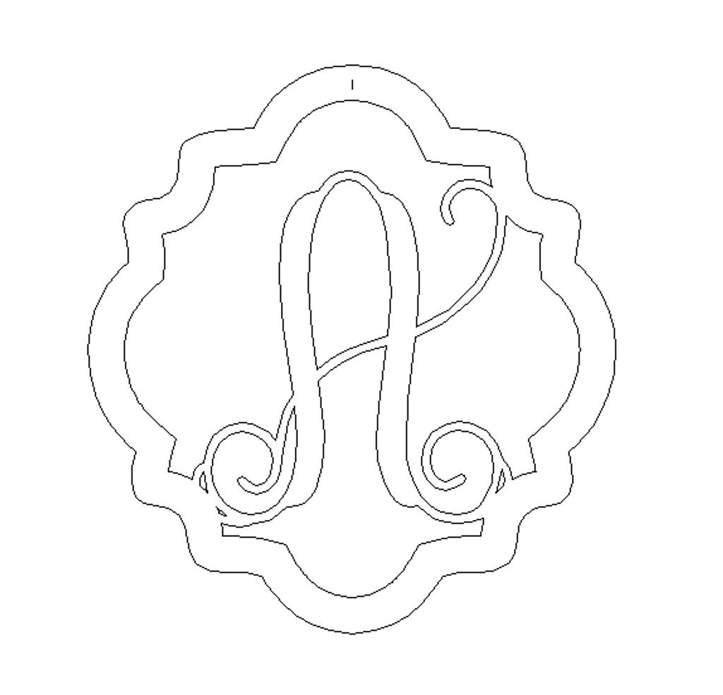 Quatrefoil frame Vine Monogram Letter Unfinished DIY Craft