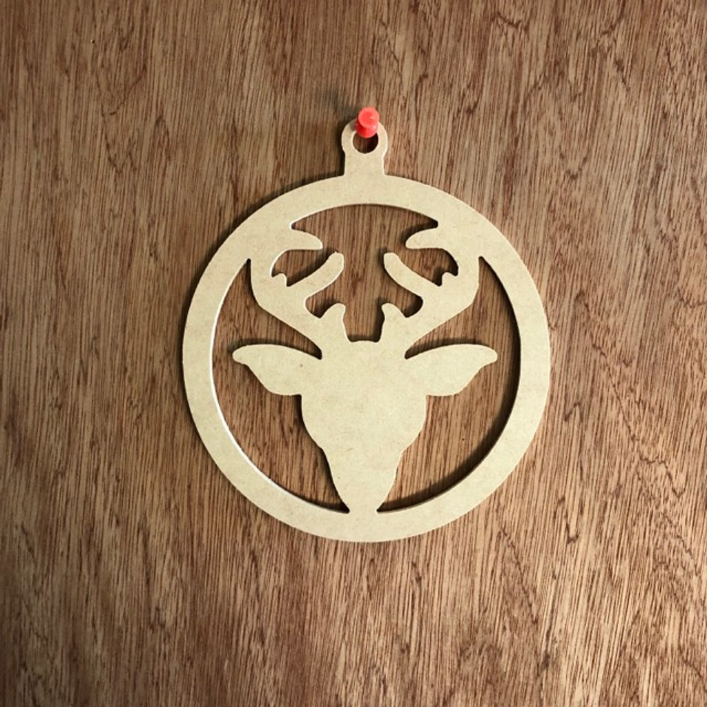 Christmas Ornament With Reindeer Shape Unfinished Cutout, Wood