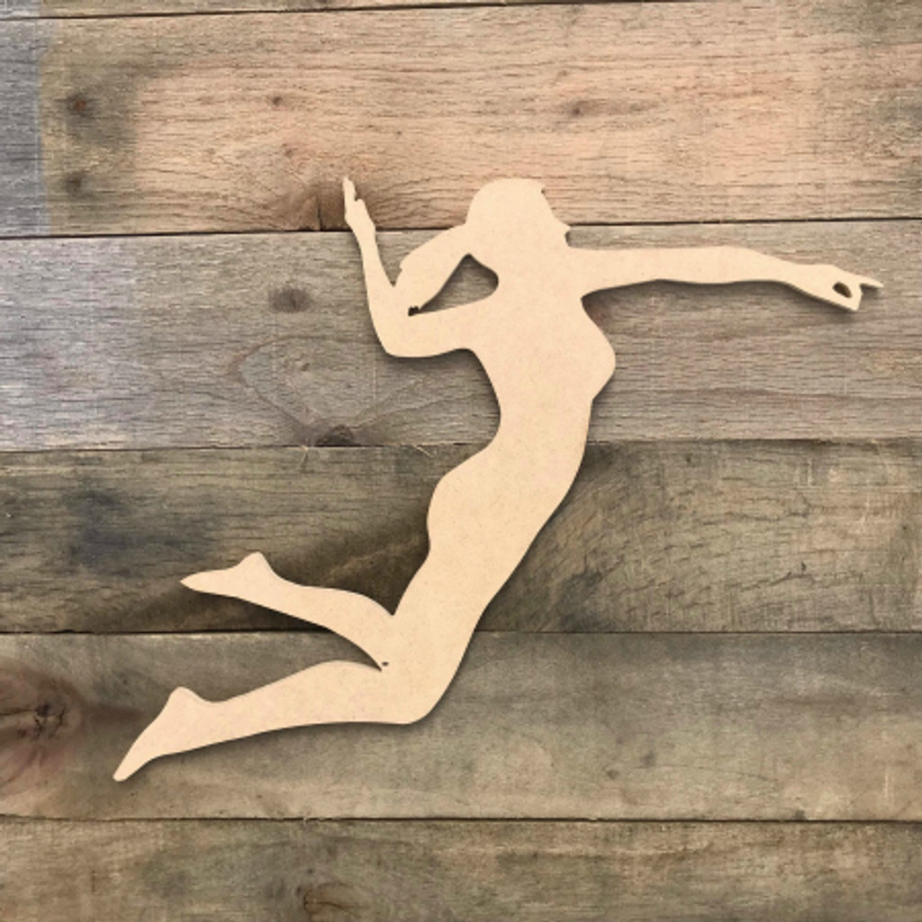 Volleyball Woman Spiking Ball Wooden Sport Shape MDF