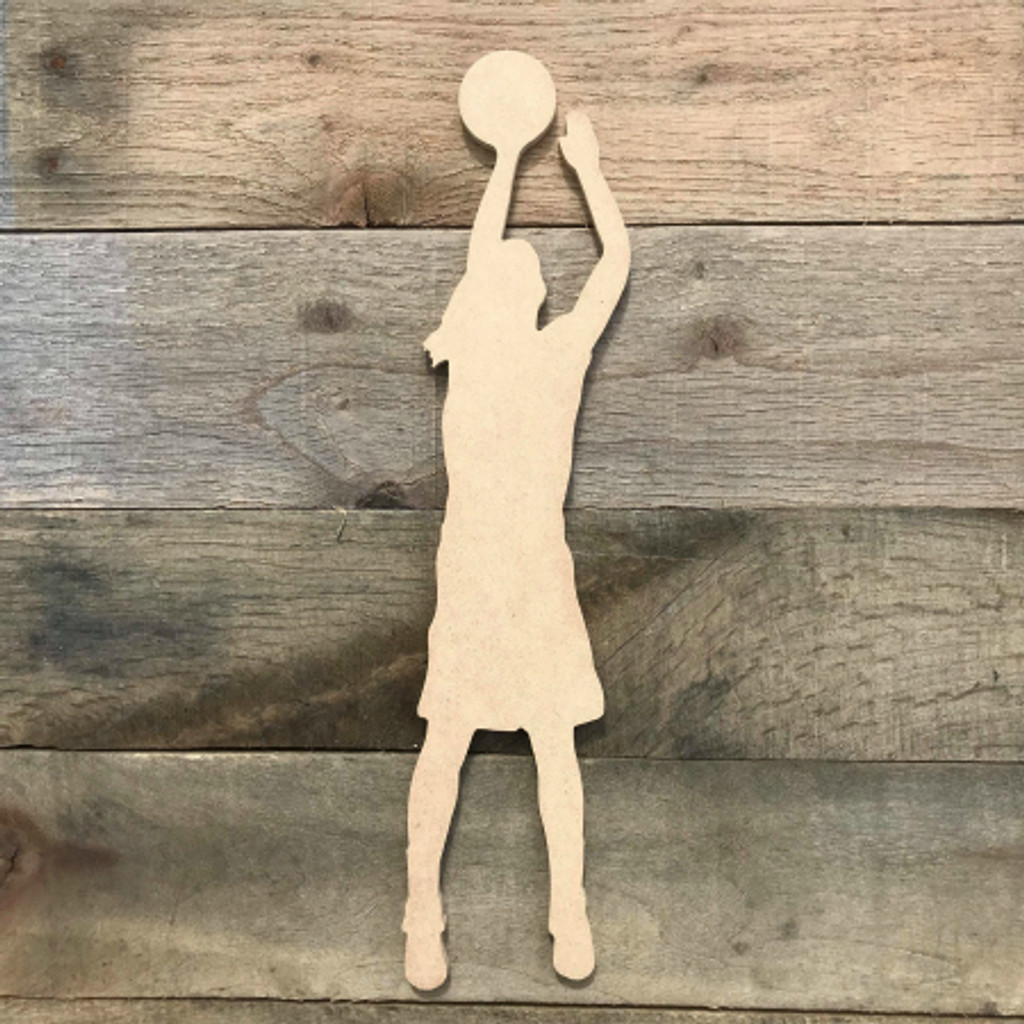Basketball Shooter Woman Unfinished Wooden Sport Shape Wood