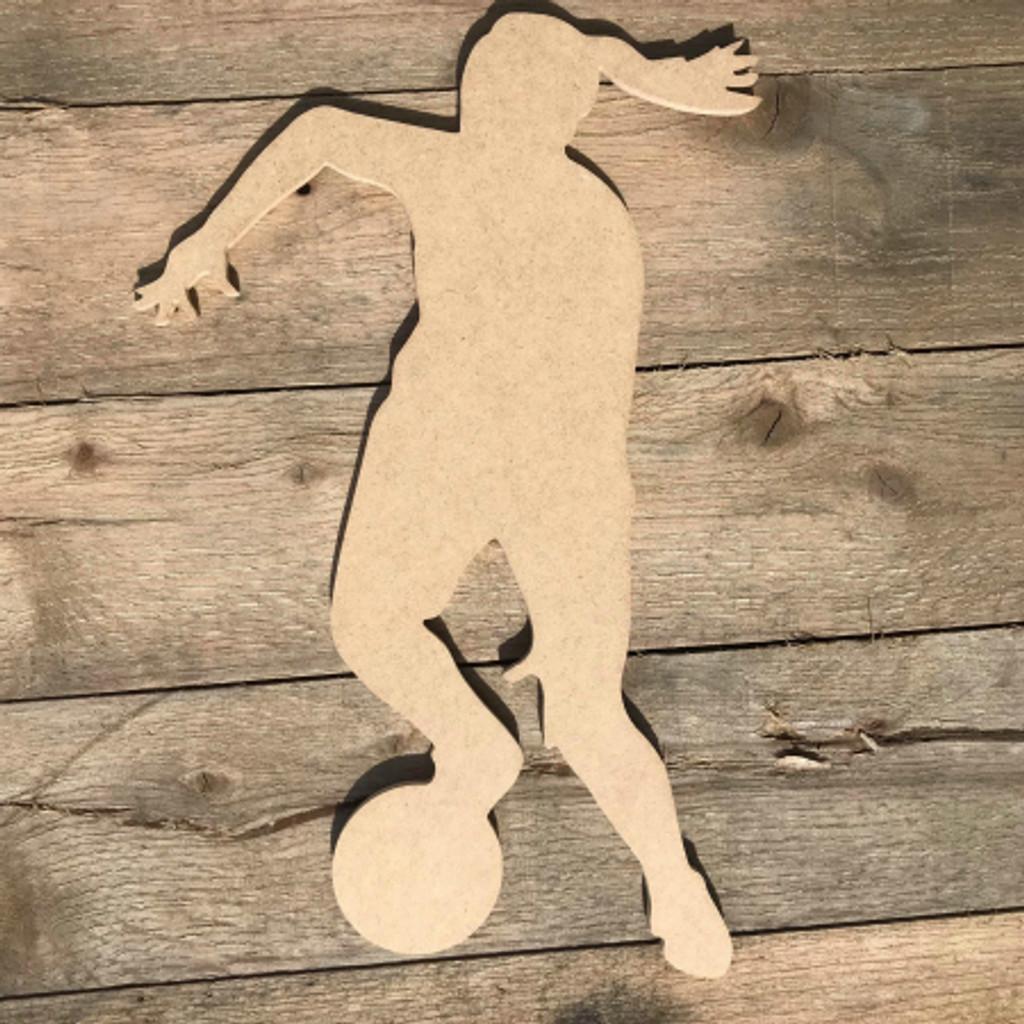Basketball Woman Dribbling Ball Unfinished Sport Shape