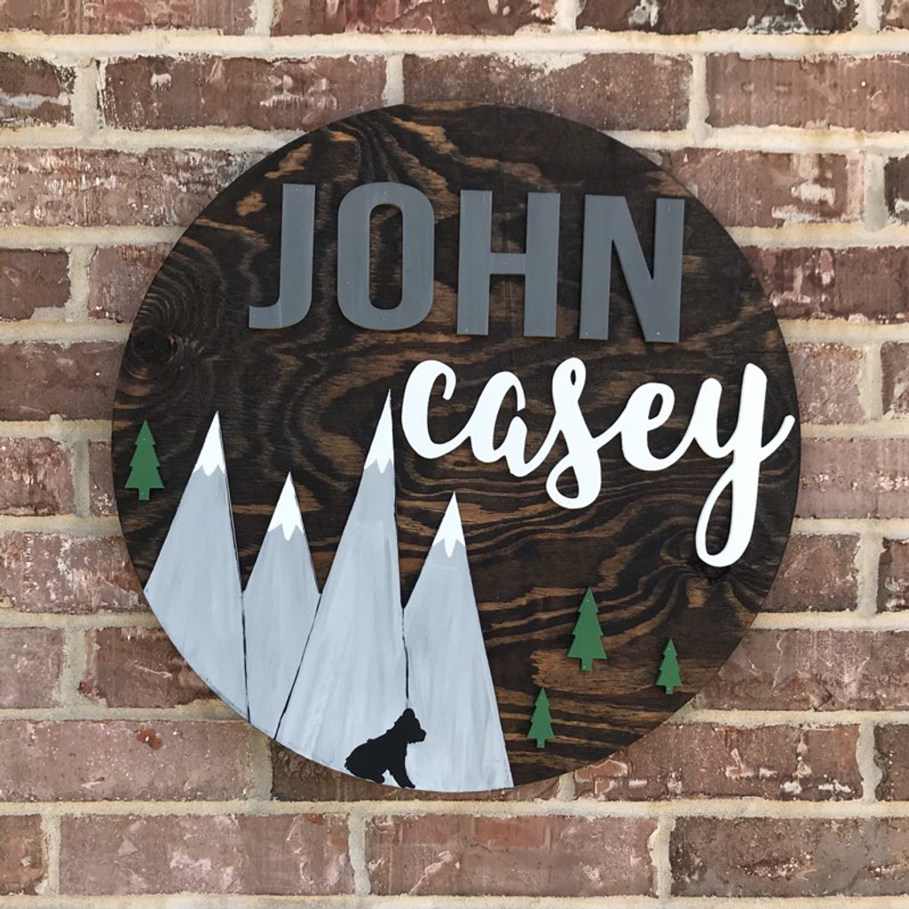 Unfinished Nursery Circle Nursery Name Sign Child Mountain