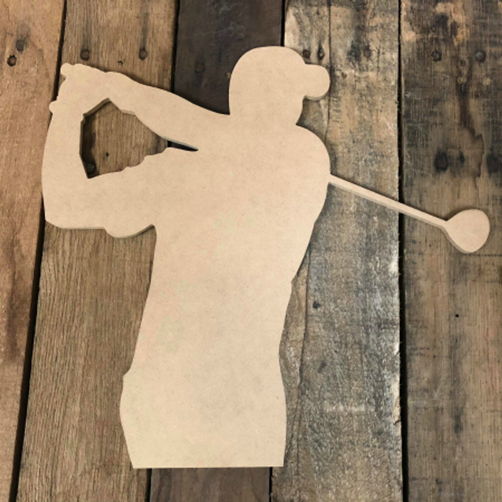 Golfer Swinging Unfinished Wooden Sport Craft Cutout