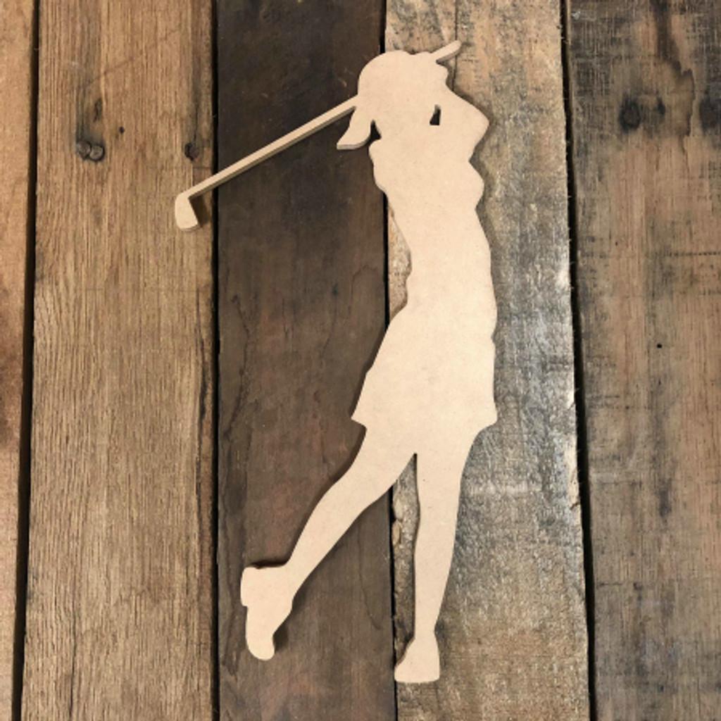Woman Golfer Swinging Unfinished Wooden Sport Cutout Craft