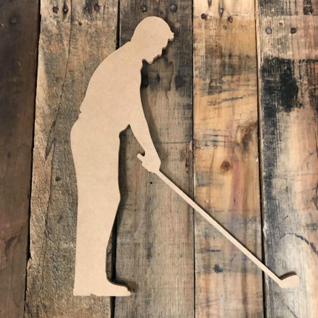 Golfer Putting Cutout Unfinished Wooden Sport Cutout Craft