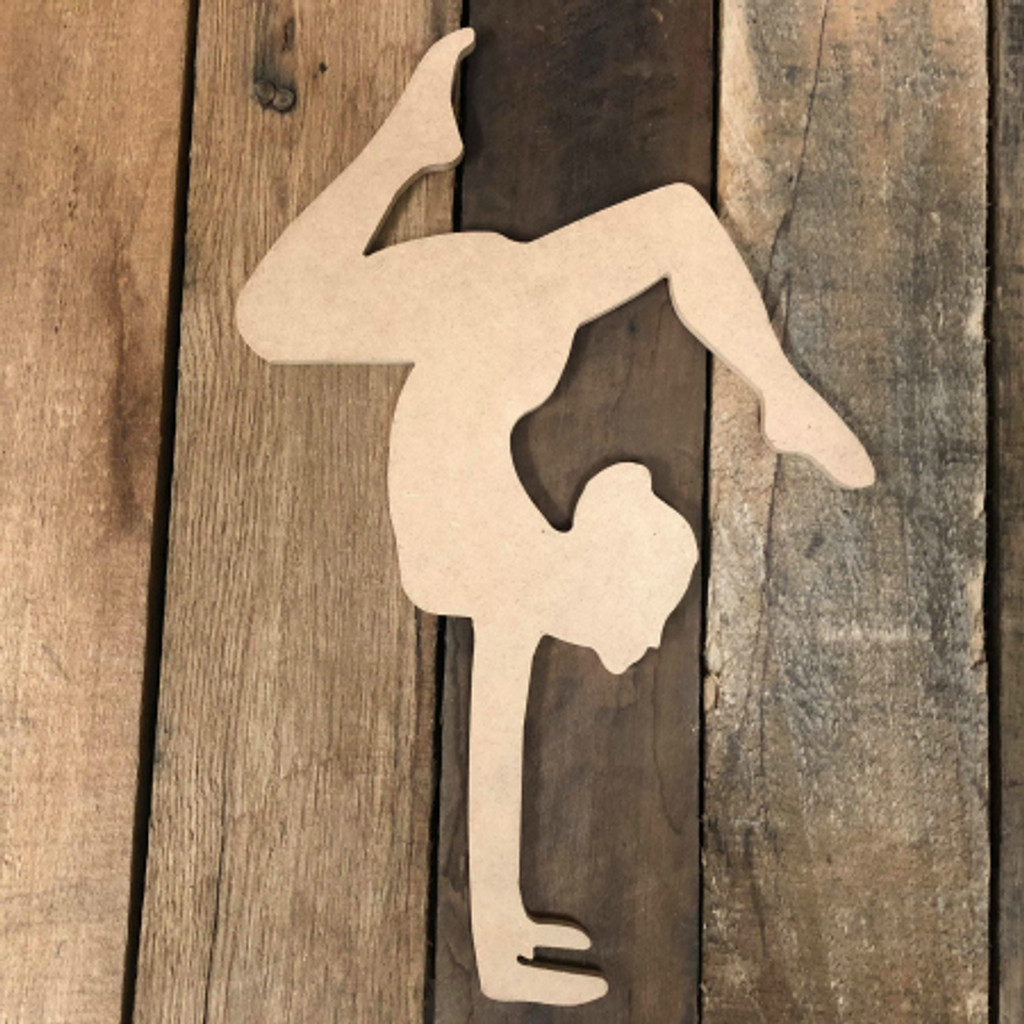 Gymnast Handstand 3Unfinished Cutout Gymnastics Wooden