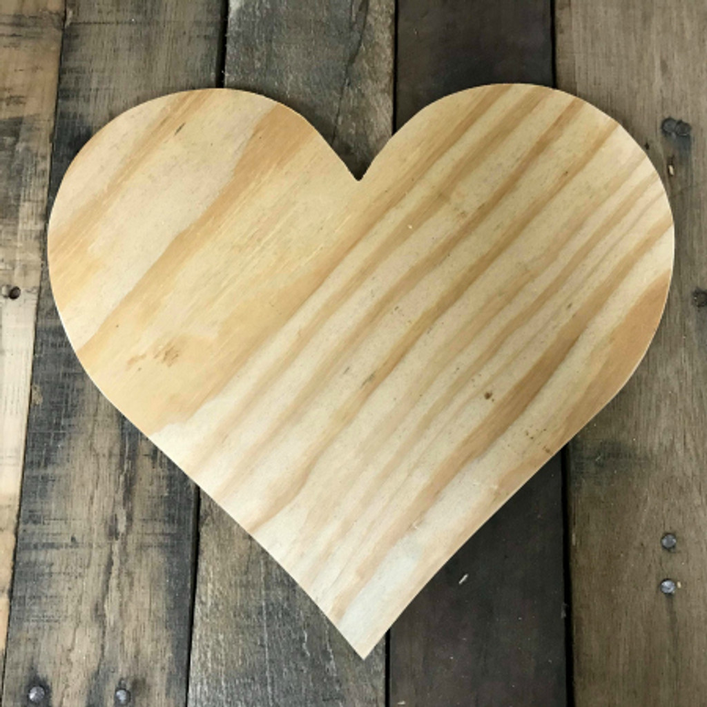 Wooden Pine Cutout, Heart, Unfinished Wood Shape, DIY Craft