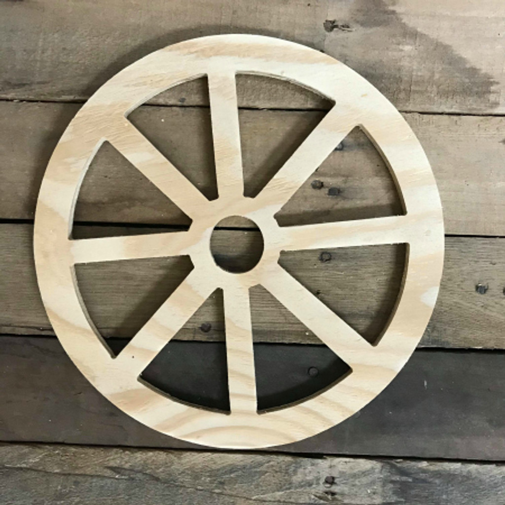 Wooden Pine Cutout, Wagon Wheel, Unfinished Wood Shape, DIY Craft
