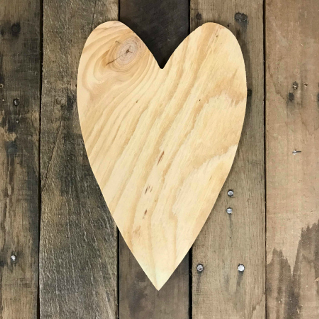 Wood Pine Shape, Long Heart, Unpainted Wooden Cutout Craft