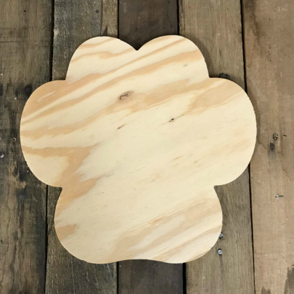 Wood Pine Shape, Wide Paw Print, Unpainted Wood Cutout Craft