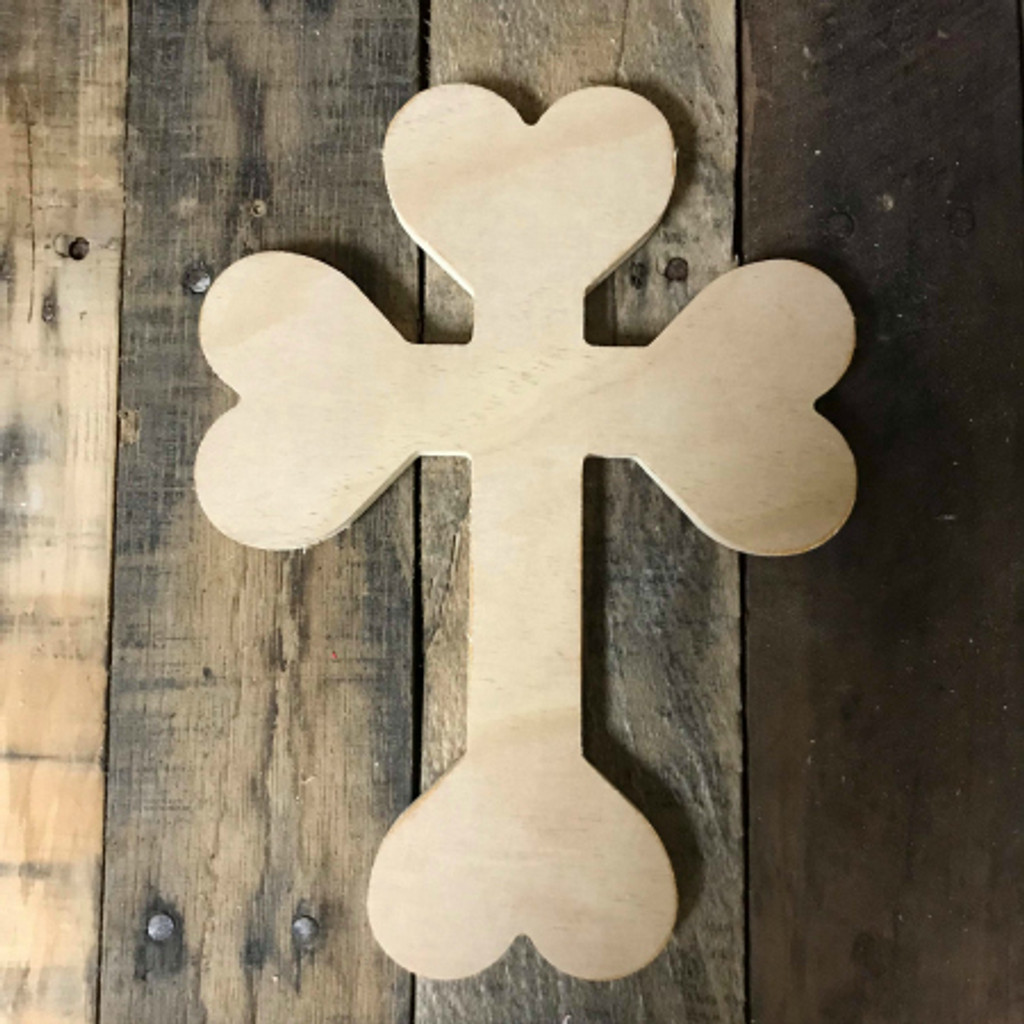 Paintable Wall Hanging Cross, Wooden Unfinished Cross Pine (29)