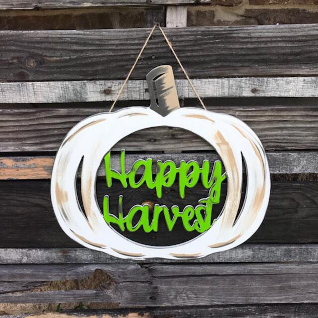 Happy Harvest Framed Pumpkin Wooden (MDF) Cutout