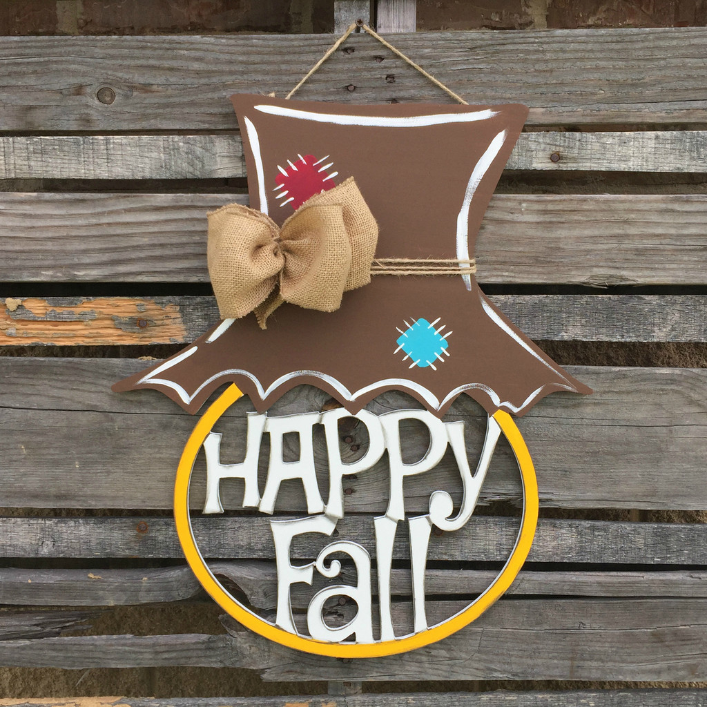 Happy Fall, Scarecrow Hat Framed Pumpkin Wooden (MDF) Cutout