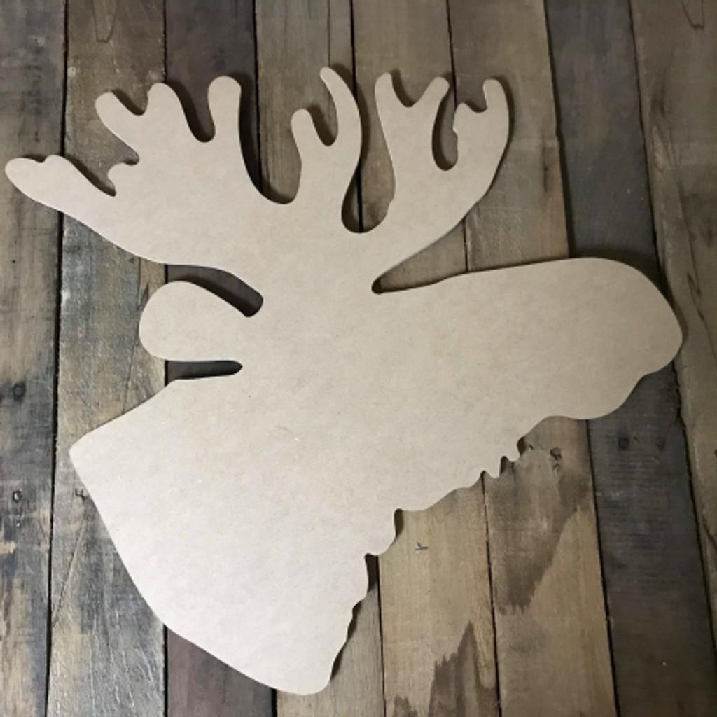 Moose Head 2,  Unfinished Wood Shape, DIY, Shapes Cut out