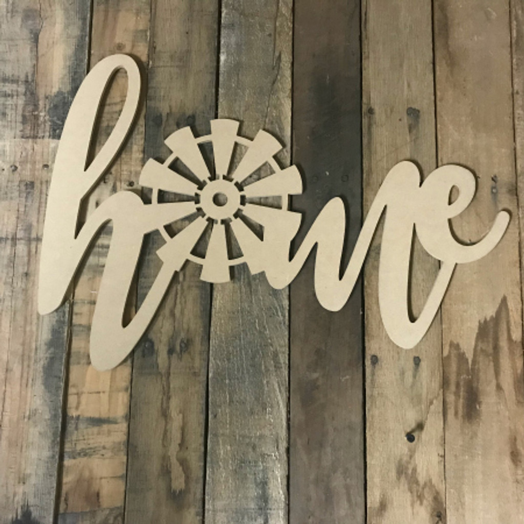 Home with Windmill (MDF) Cutout - Unfinished  DIY Craft