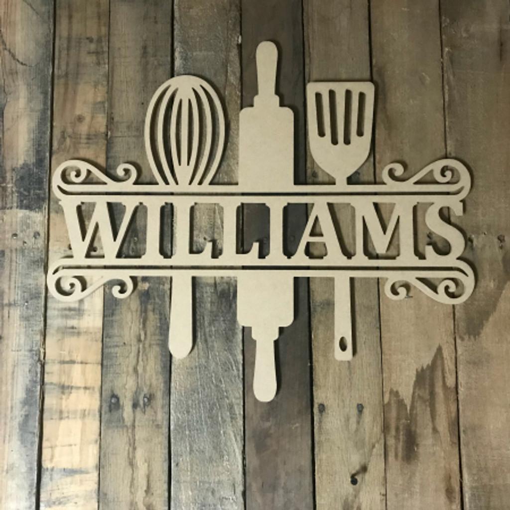Kitchen Frame Name, Unfinished Framed Monogram