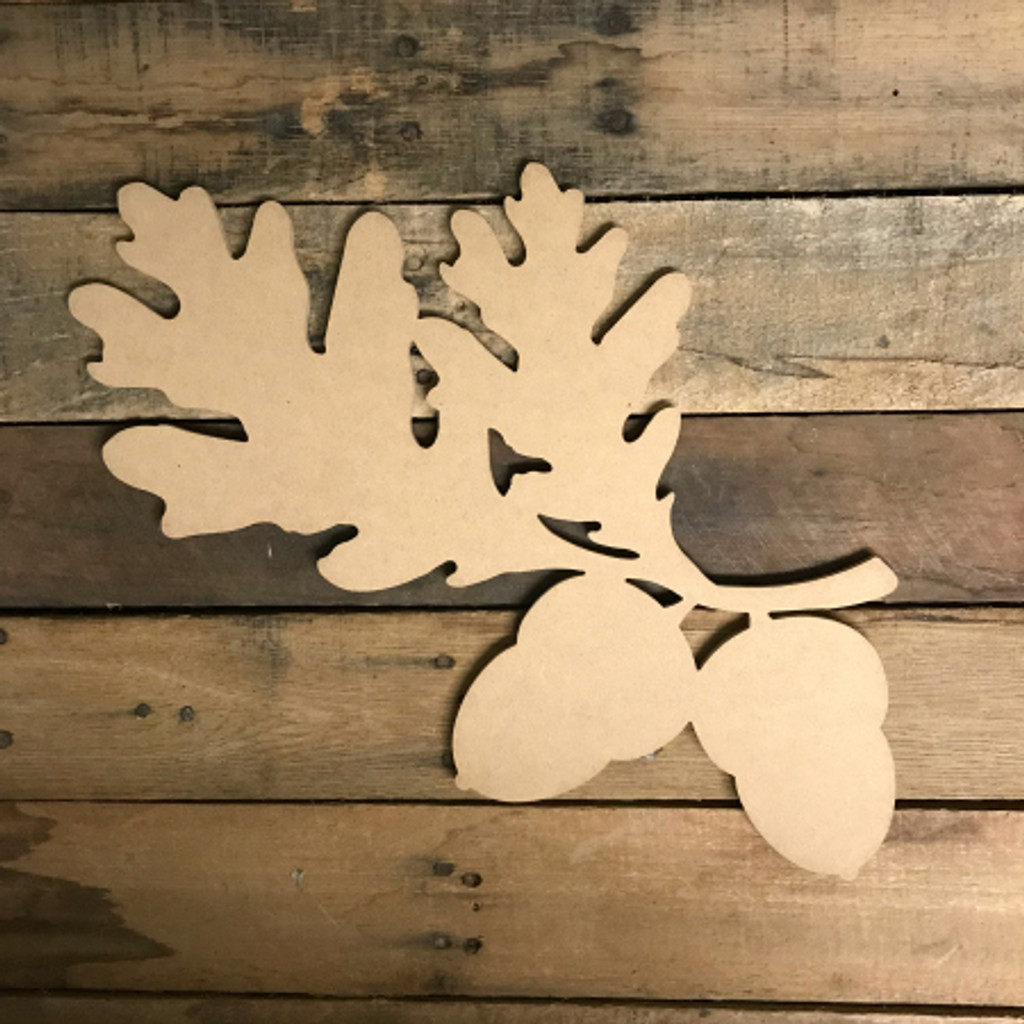 Acorns on Branch, Unfinished Wood Shape, Wood Cutout