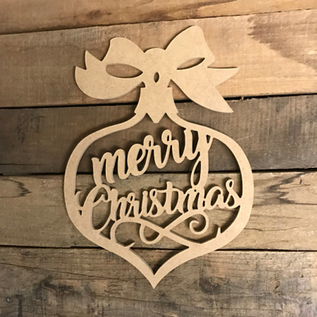 Merry Christmas Ornament DIY (MDF) Cutout - Unfinished  Craft