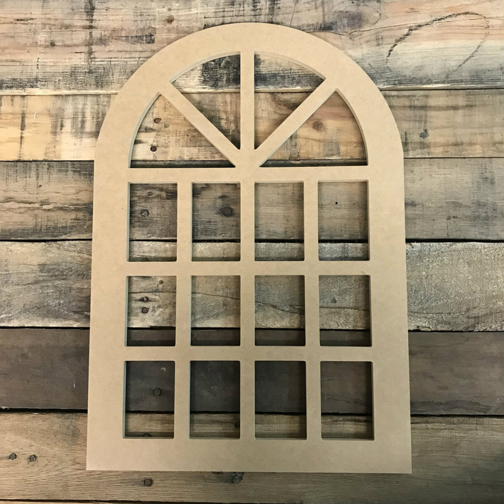 Unfinished Cathedral Arch Window Decor,  Wooden Cutout Craft