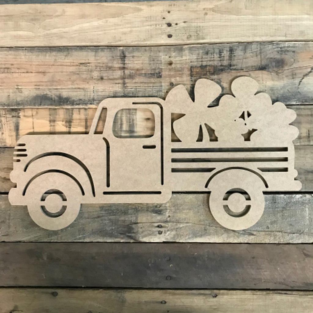 Truck with Clovers Cutout Unfinished Wooden Cutout Craft
