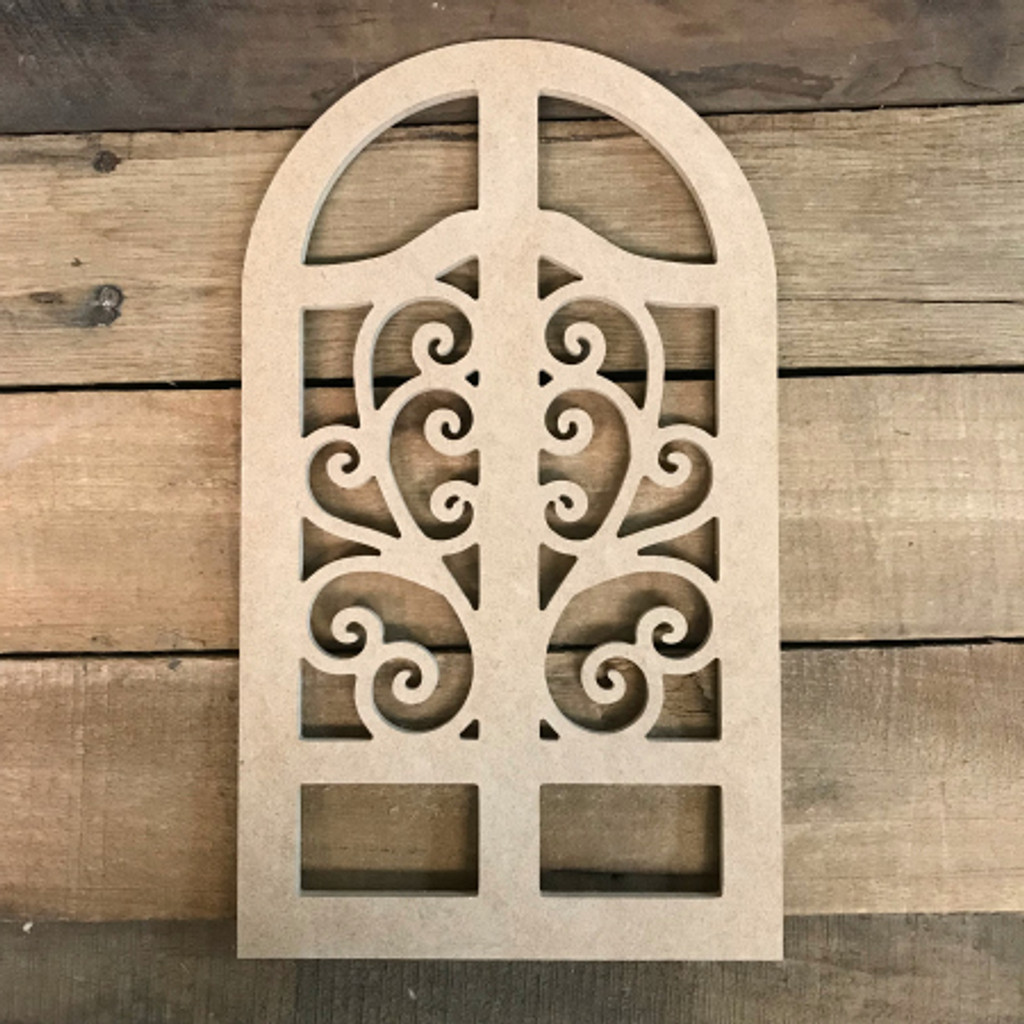 Paintable Wall Cathedral Arch Window Decor,  Wooden Cutout Craft