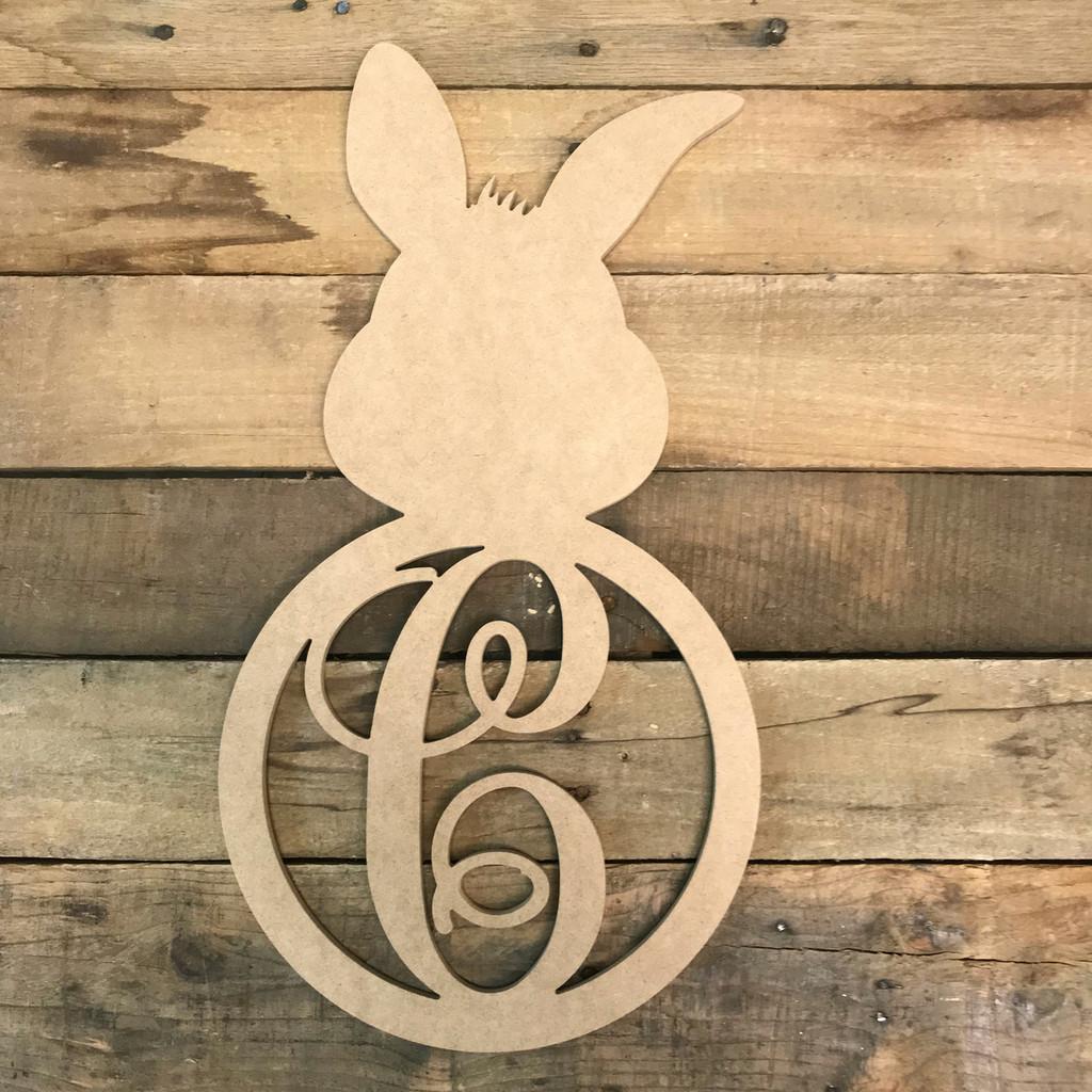 Wood Bunny Cursive Monogram Wall Decor Paintable Cutout