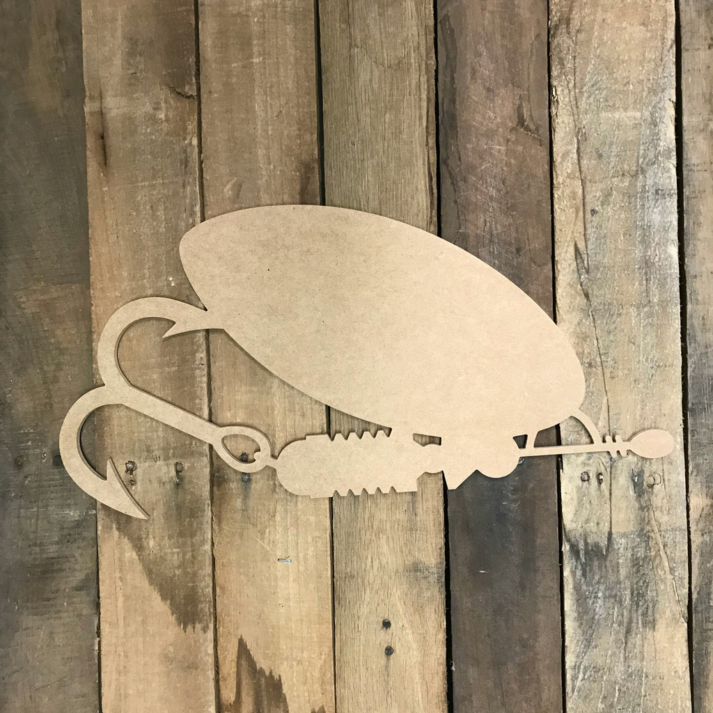 Spoon Fishing Lure Wood Shape Unfinished Wooden Cutout