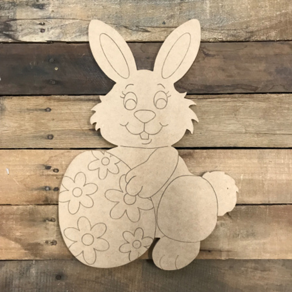 Easter Bunny With Egg Diy Unfinished Wood Cutout Paint By Line