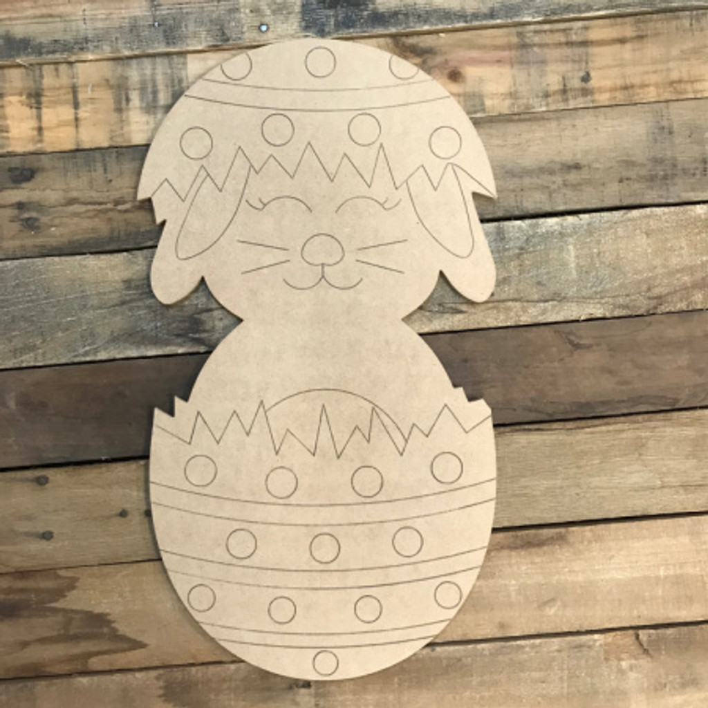Bunny in Easter Egg, Unfinished Wood Shape, Paint by Line
