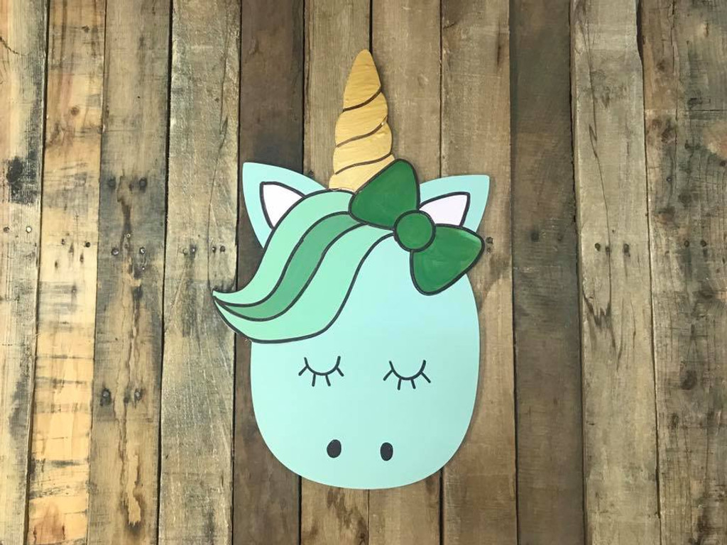 Unicorn with Bow , Unfinished Wooden Cutout Craft, Paint by Line