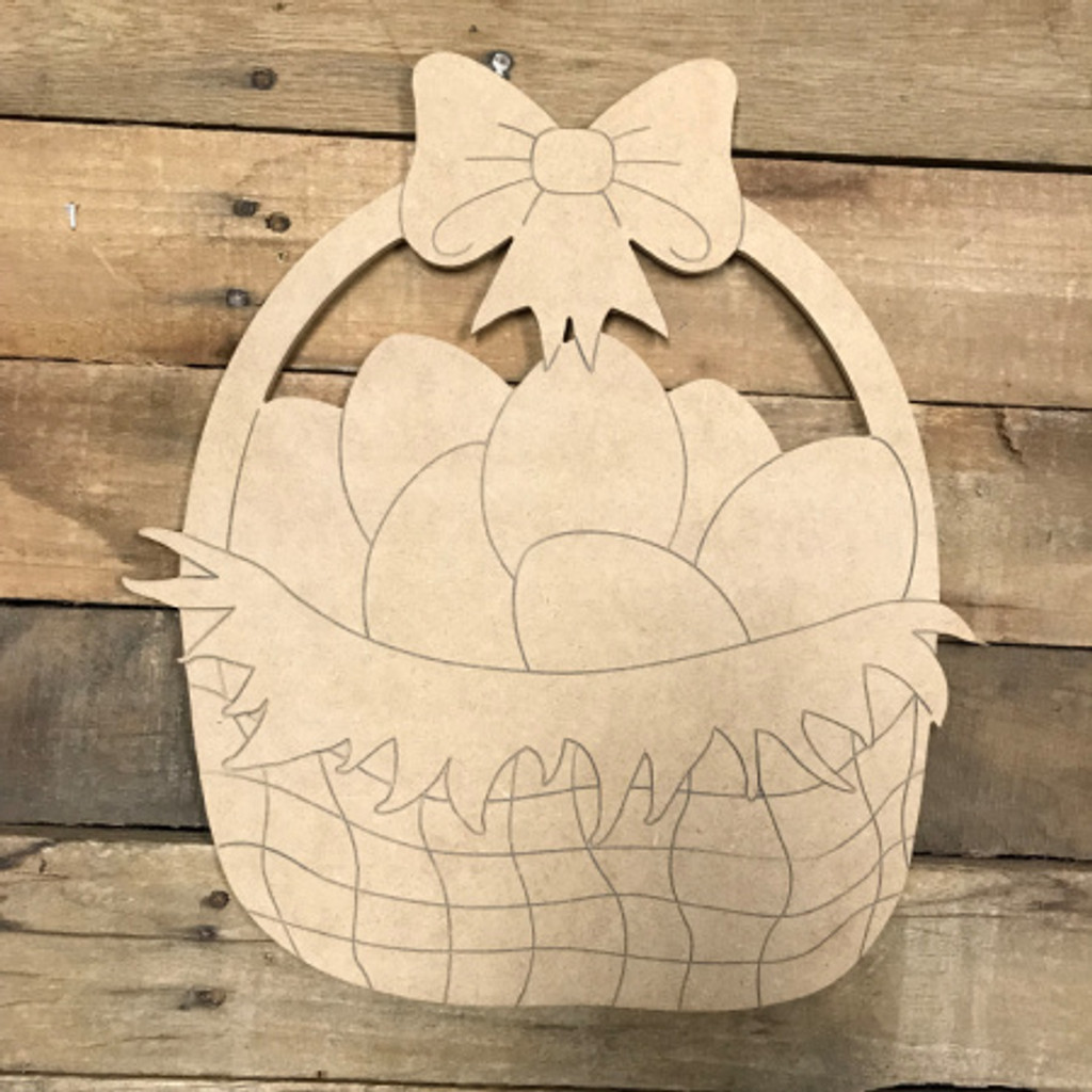 Easter Egg in Basket, Unfinished Wood Shape, Paint by Line