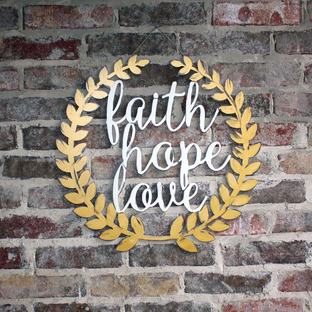 Unfinished Roman Wreath - Faith,Hope,Love  Unfinished Cutout MDF