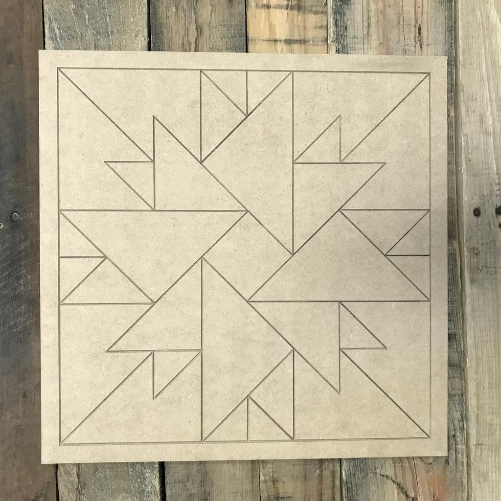 Quilt Pattern 1 DIY, Unfinished Wood Cutout, Paint by Line