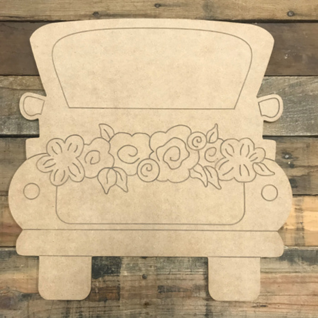 Truck with Flowers, Unfinished Wooden Cutout Craft, Paint by Line