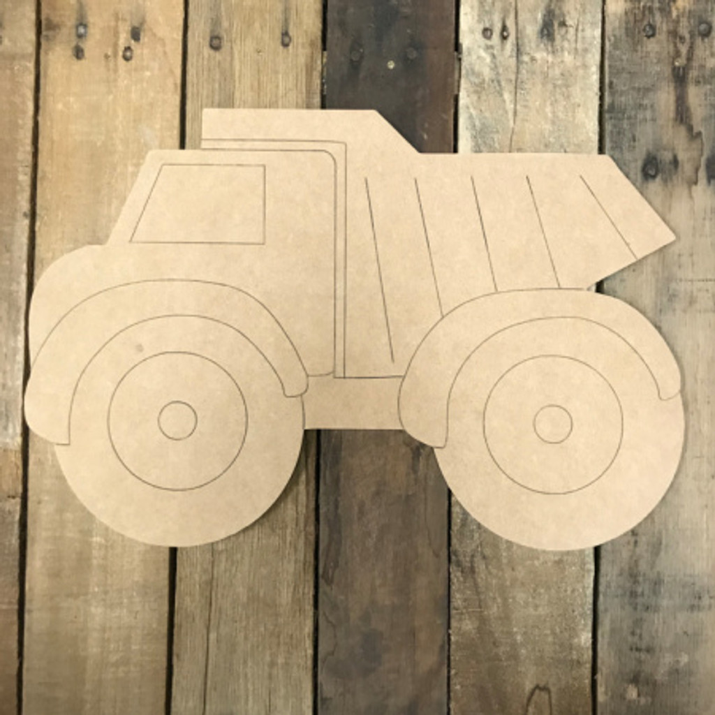 Dump Truck, Unfinished Wooden Cutout, Paint by Line