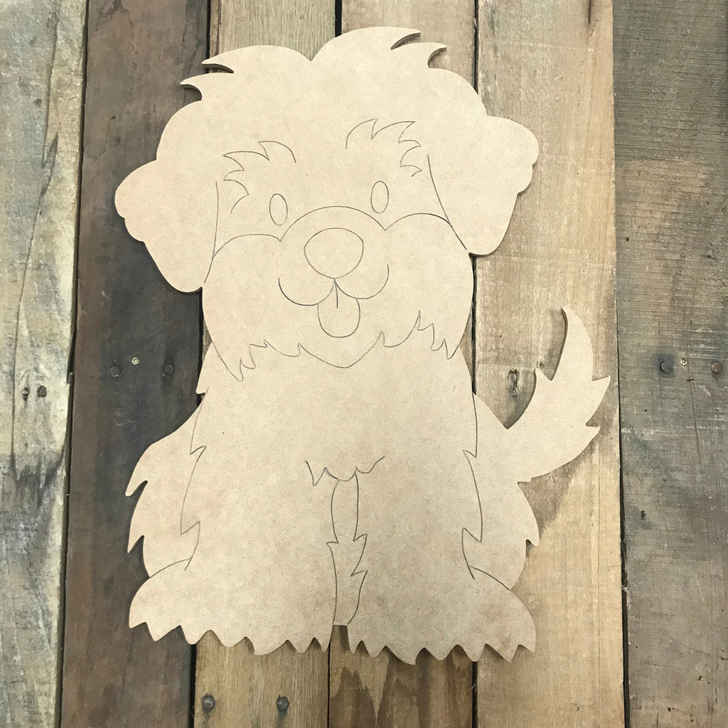 Yorkie, Unfinished Wooden Cutout Craft, Paint by Line