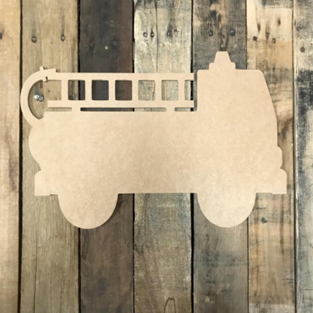 Fire Truck, Unfinished Cutout, Craft Wood Shape