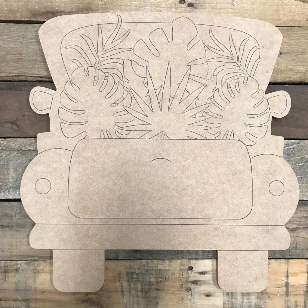 Palm Truck, Unfinished Wood Cutout, Paint by Line